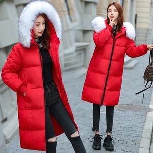 Image 3 - Plus rozmiar 5XL 6XL 7XL płaszcz zimowy kobiety futro z kapturem kołnierz Oversize luźna kurtka zimowa kobiety długie parki duży rozmiar dół kurtki