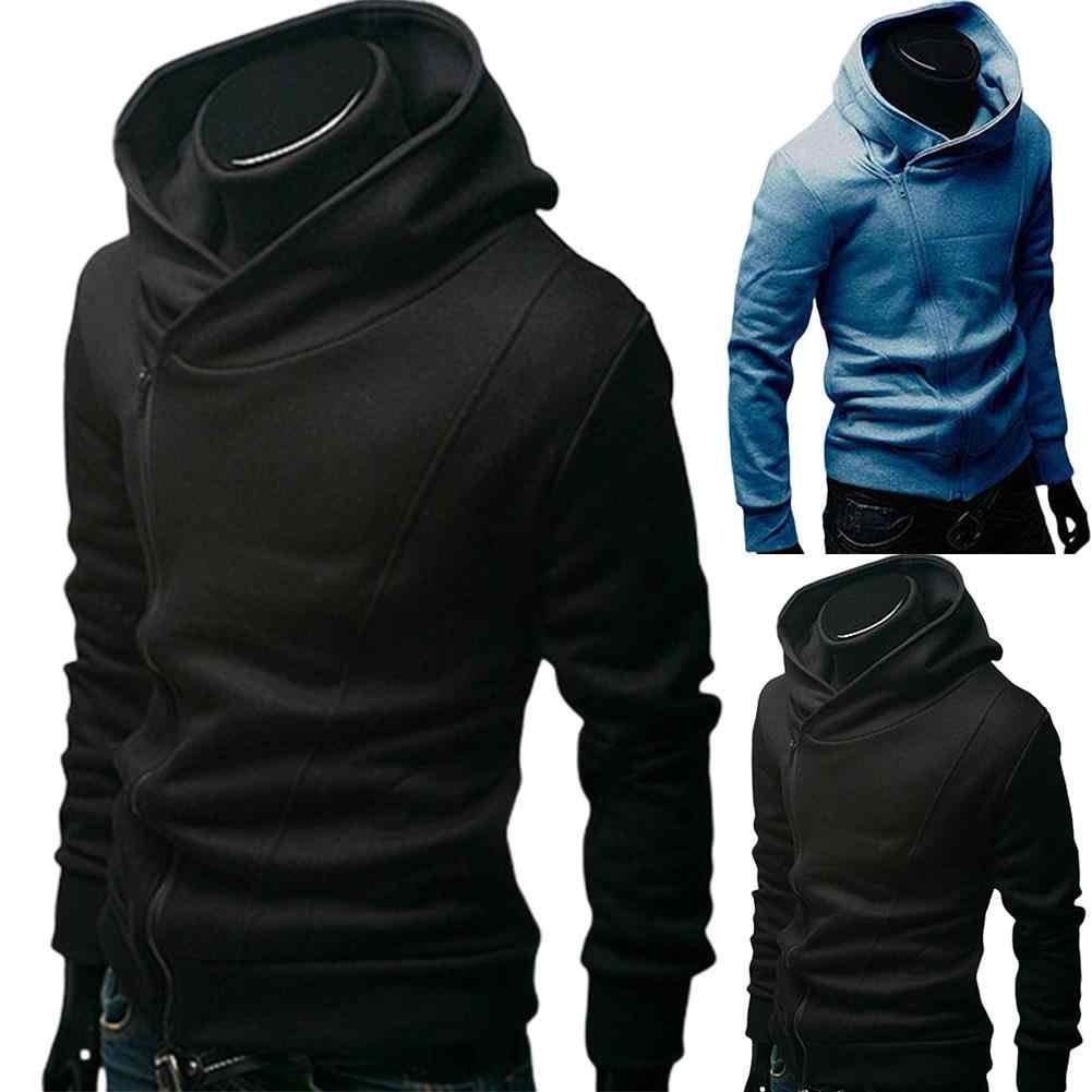 Women Print High Neck Diagonal Zipper Sweatshirt Jacket Long Sleeve Drawstring Hooded Coat