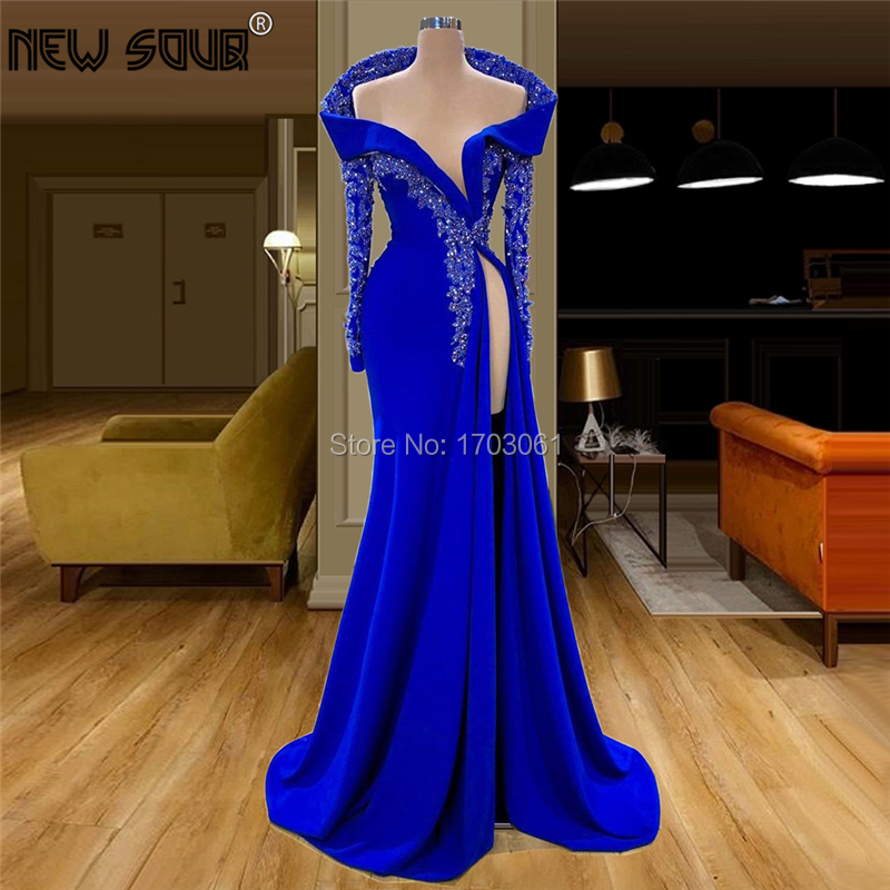 Royal Blue Mermaid Beading Formal   Evening     Dresses   Kaftans Saudi Arabic 2020 Couture New Party Gown Crystal Prom   Dress   For Dubai