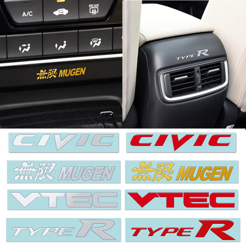 Car Styling 5PCS 3D Nickel Metal Alloy Type R Typer Sticker For Honda City CR-V Accord FIT Crider Greiz CIVIC Spirior VTEC Mugen