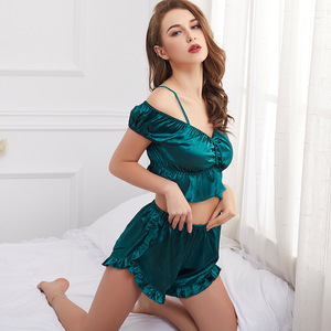 Image 5 - SP&CITY High Quality Delicate Stain Sexy Pajamas Set Midriff baring Tops Women Camisole Suit Solid Nightwear Shorts  Lingerie