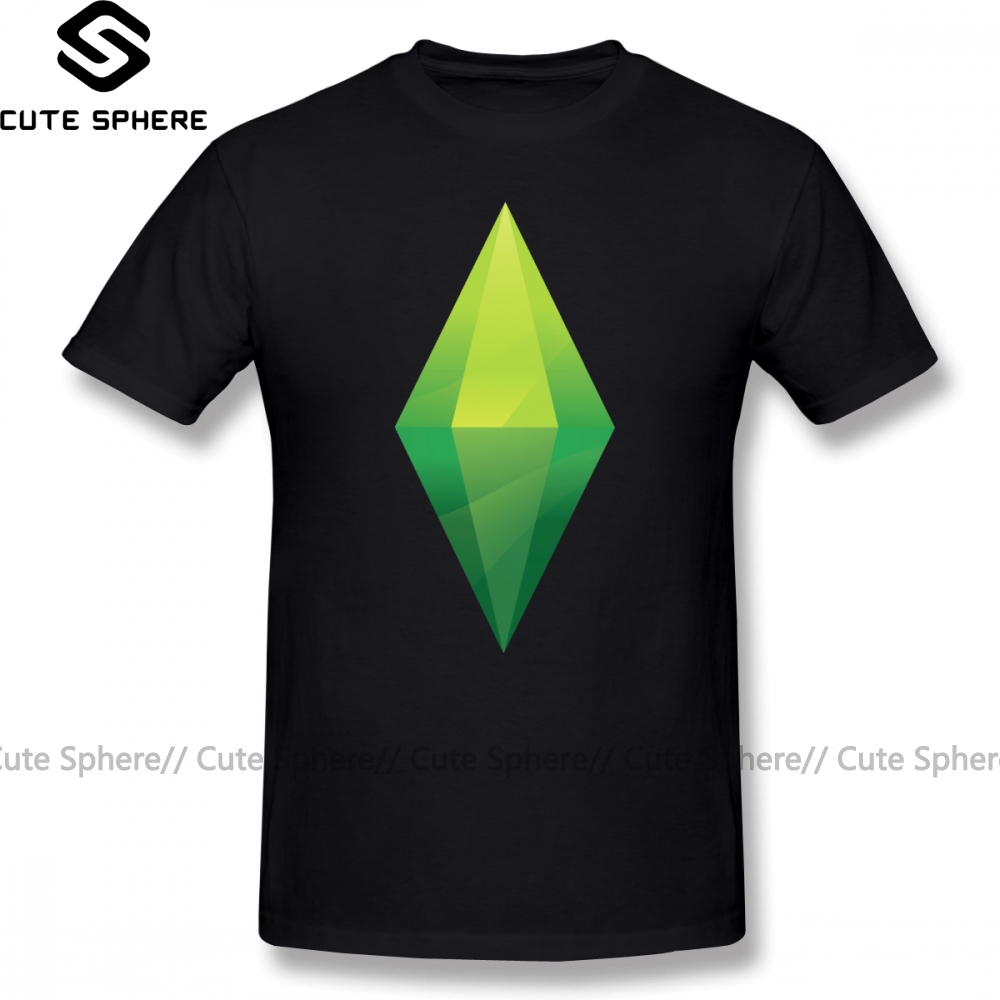 The Sims T-Shirt The Sims Plumbob T Shirt Printed Cute Tee Shirt Fashion Short-Sleeve Oversize 100 Percent Cotton Men Tshirt