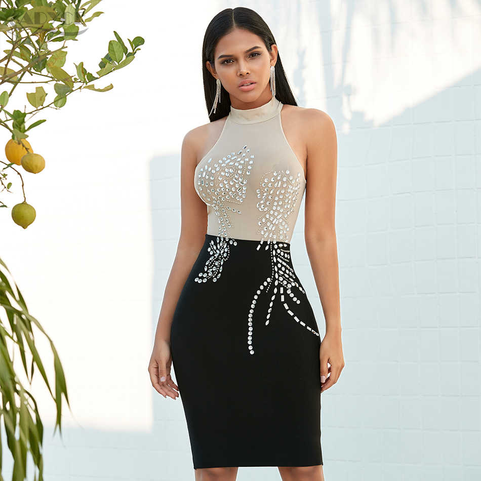 Adyce Nieuwe Zomer Black Lace Bodycon Bandage Jurk Sexy Halter Mouwloze Diamond Club Midi Celebrity Avond Party Dress Vestido
