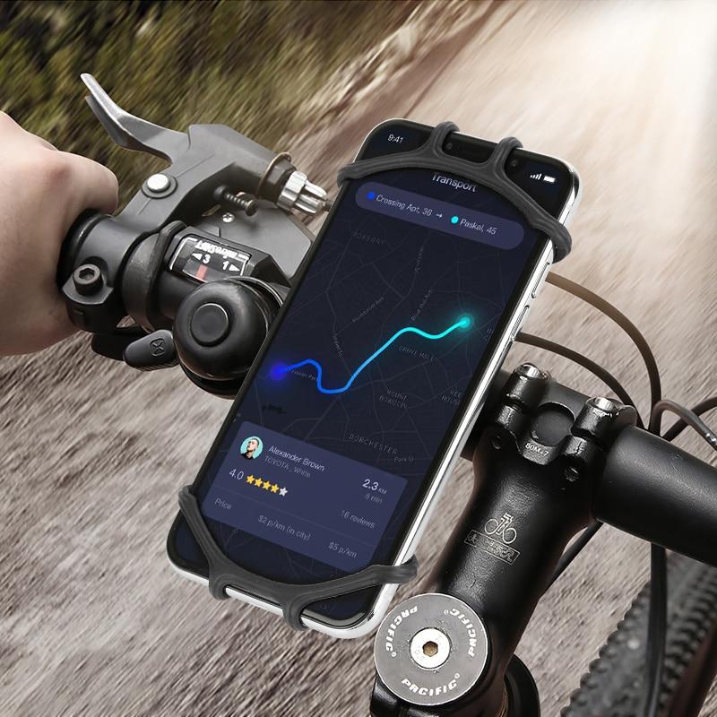 Black Bicycle Phone Holder for IPhone 7 XS Max Samsung Xiaomi 9 Universal Motorcycle Mobile Phone Holder Bike Handlebar Stand Bracket
