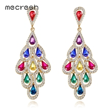 Mecresh Statement Colorful Crystal Women Large Drop Earrings 2019 Fashion European Multi-layer Leaf Summer Big MEH1576