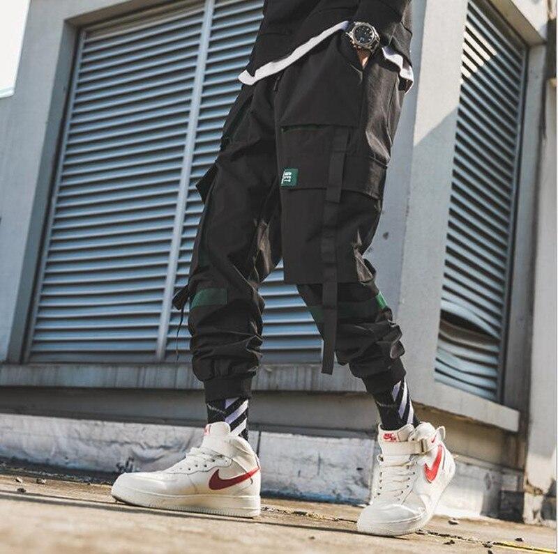 New Fashion Four Seasons Men's Military Black Two-color Multi-pocket Cargo Pants 2019 Harlan Harajuku Sports Pants Beam Feet Pan