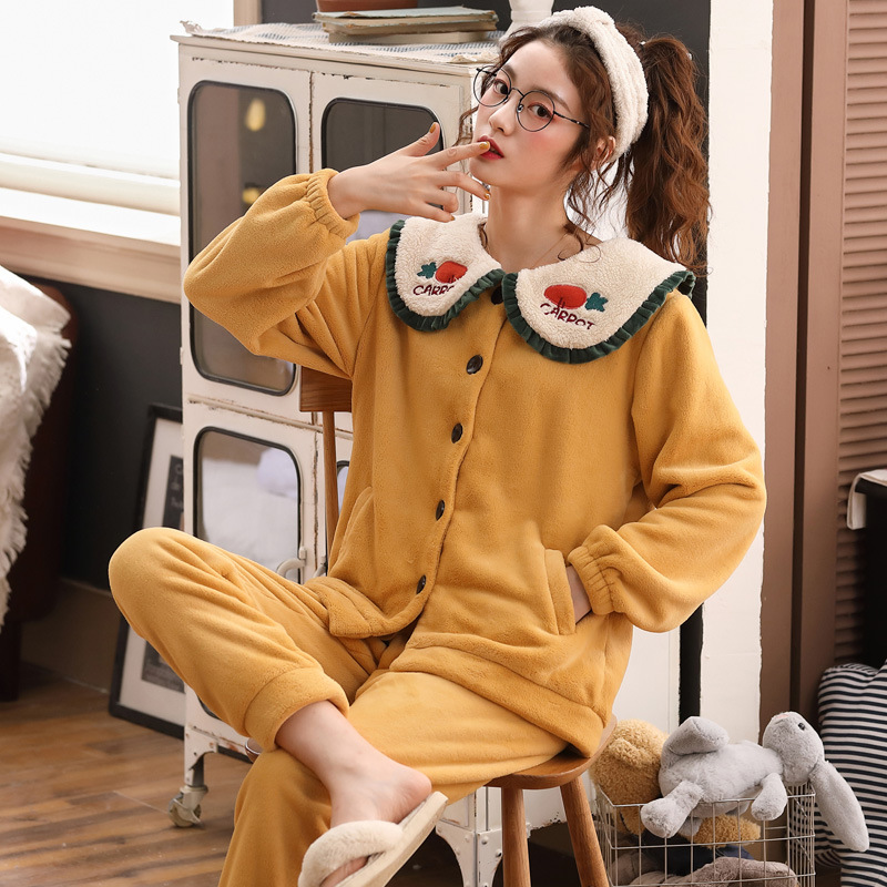 Coral Cashmere Pyjamas Home Wear Suit Long Sleeve Autumn and Winter with Extra Warm Wool Flannel for Ladies Cartoon Polyester