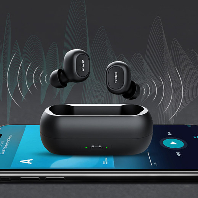 QCY qs1 TWS 5.0 Bluetooth headphone 3D stereo wireless earphone with dual microphone 3