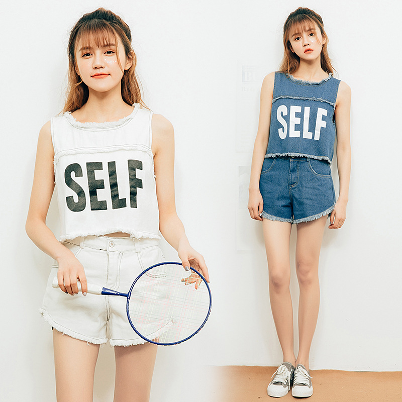 Navel WOMEN'S Suit Summer 2019 New Style Fashionable Two-Piece Set Short Vest And With Holes Denim Shorts