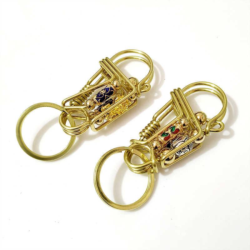 פליז מפתח טבעת בודהה של ראש פאנק אישית Keychain וו רכב Keychain תליון רטרו חגורת תליית מפתח מחזיק חם ייחודי מתנה