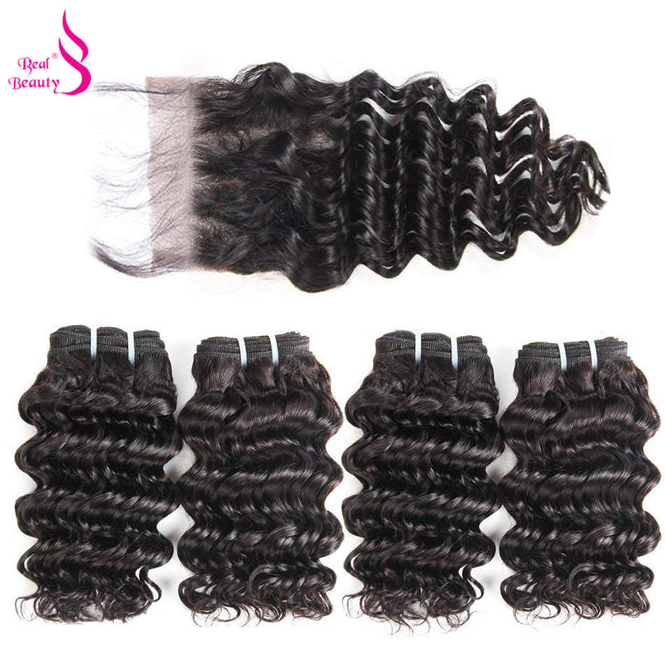 50G Peruvian Deep Wave Bundles With Closure  Remy Human Hair 3 and 4 Bundles  With Lace Closure Real Beauty Human Hair Extension