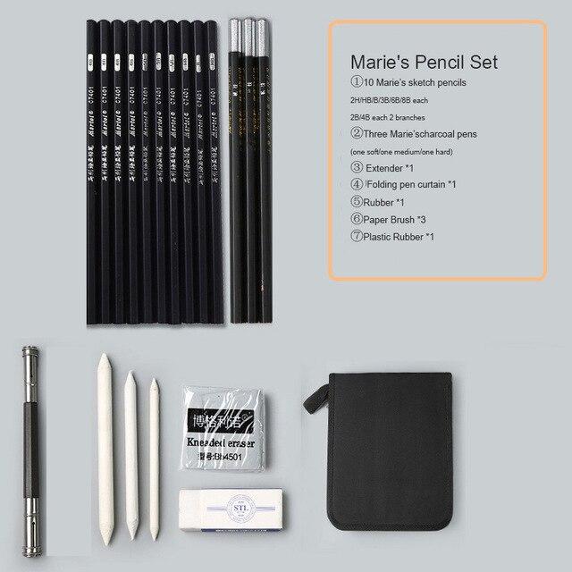 Marie's карандаш для эскизов набор эскизная ручка набор карандашей для рисования начинающих студентов профессиональный полный набор эскизов Пишущие принадлежности - Цвет: folding curtain