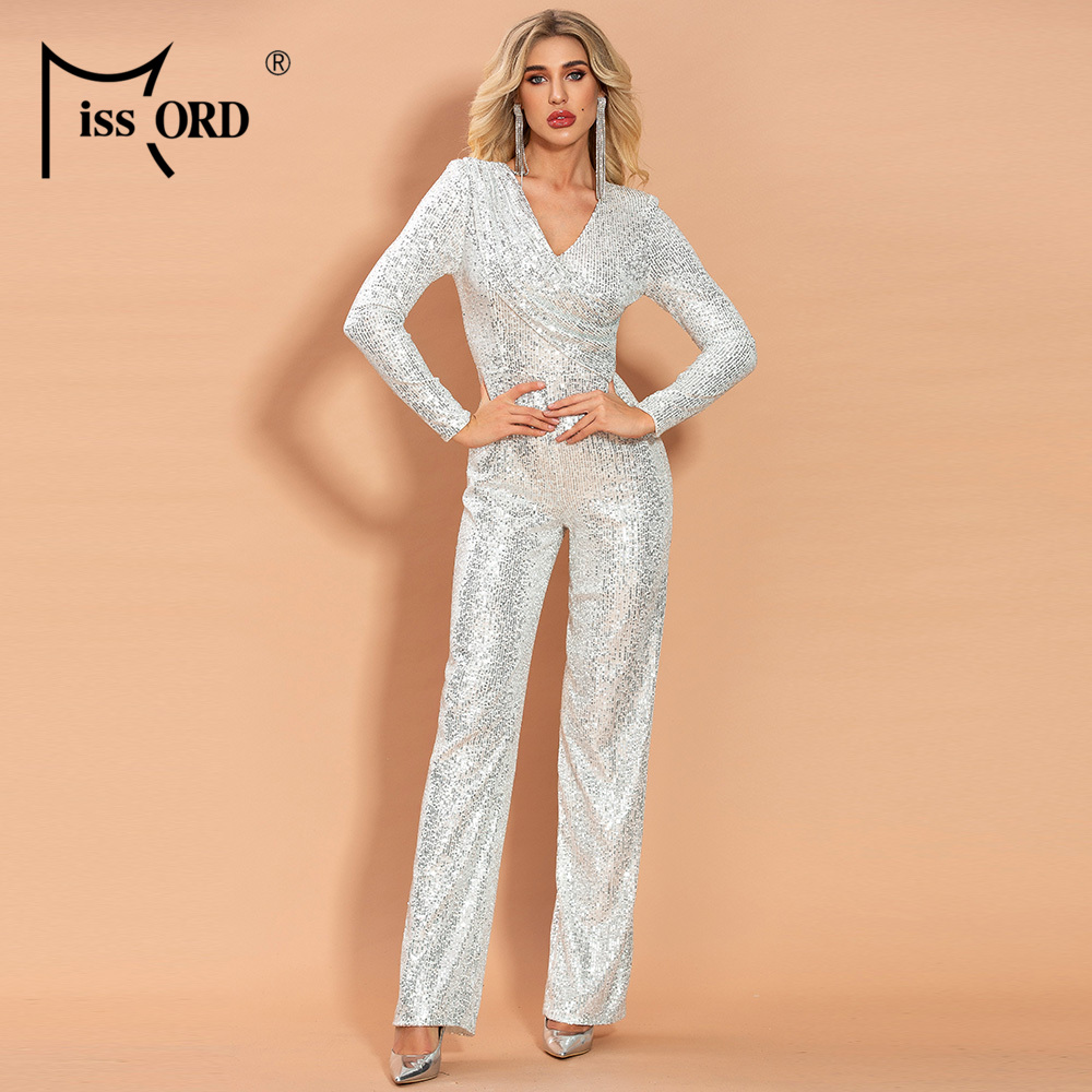 Missord 2020 Women Sexy V Neck Long Sleeve Sequin Jumpsuit Elegant Bodycon Solid Color  Jumpsuit FT19985
