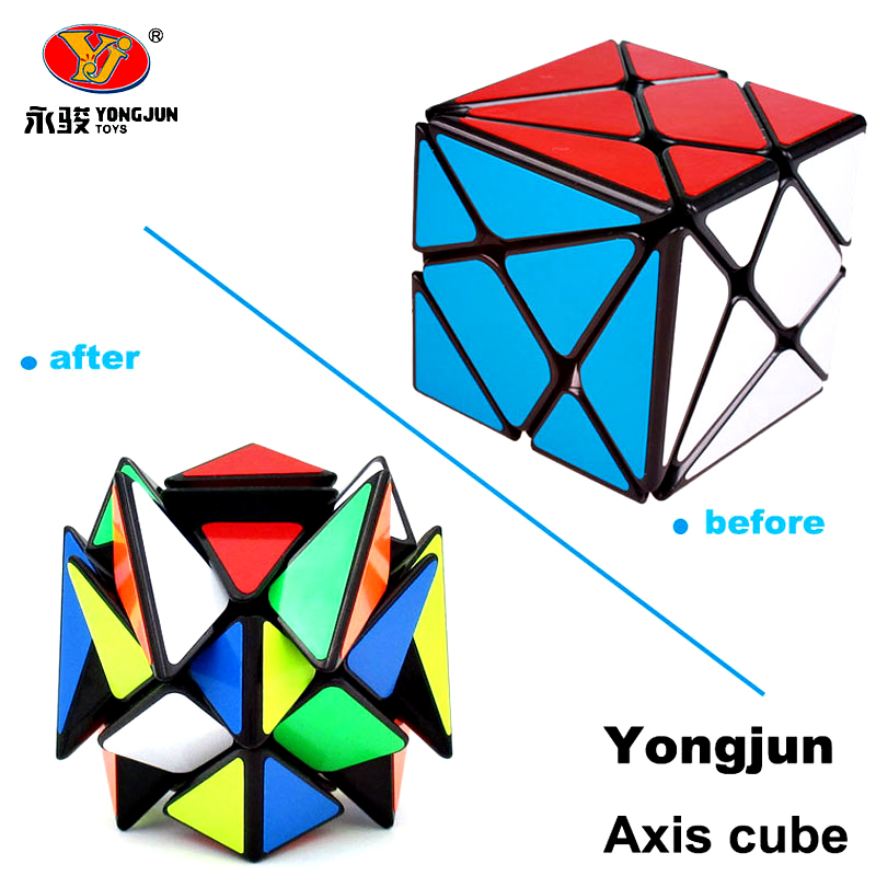 YongJun YJ Axis Magic Puzzle Cube Change Irregularly Jinggang Professional Speed Cube Black With Frosted Sticker