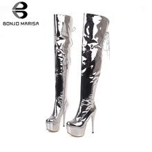 BONJOMARISA New 33-48 Sexy Metalic Thigh High Boots Women 2019 Winter Party Platform Over The Knee Heels Shoes Woman