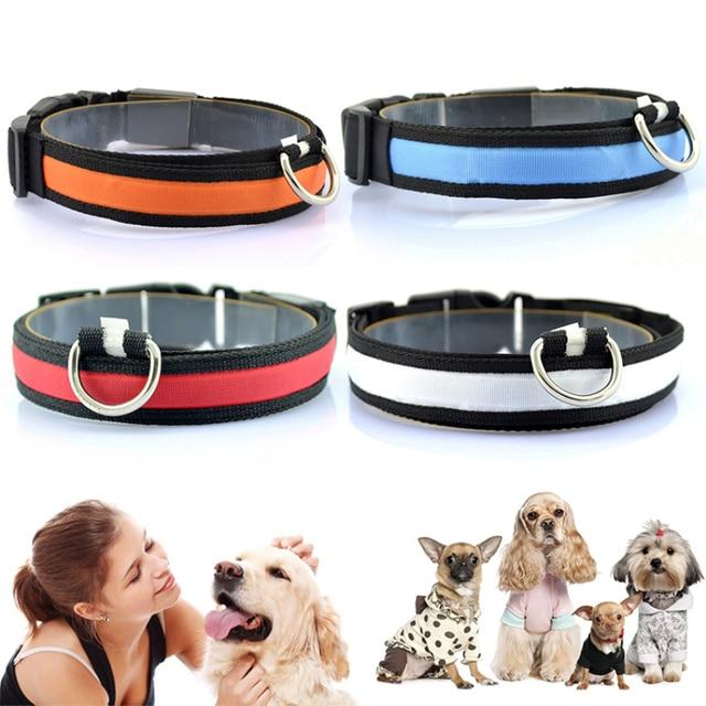 1PC Nylon LED Dog Collar Lamp With Dog Collar Night Safety Flashing Glow In The Dark Luminous Fluorescent Collars Pet Supplies 6