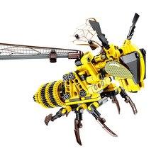 Ewellsald simulado inseto abelha libélula blocos de construção compatibletechnic animais cidade tijolos brinquedos educativos para crianças