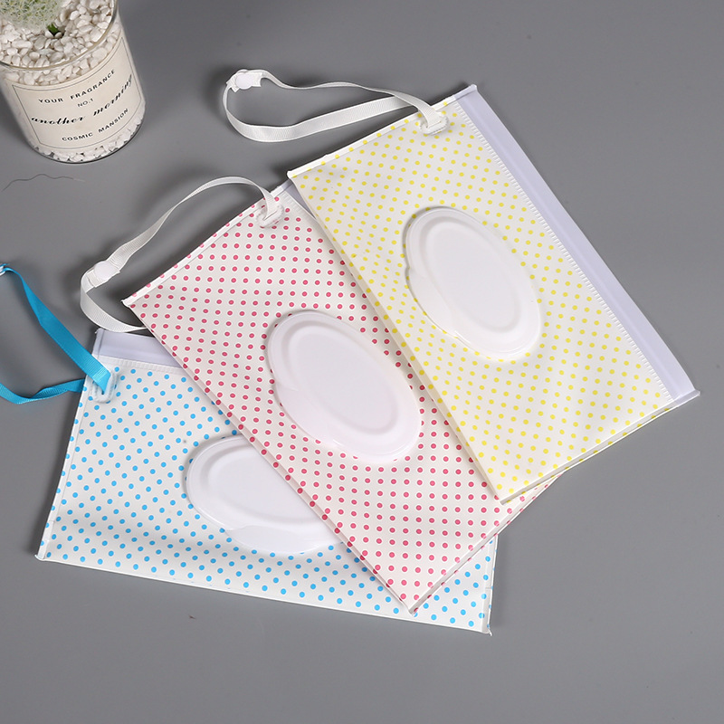 Baby Care Wet Wipe Box Eco-Friendly Wet Tissue Case Cleaning Wipes Container Case Portable Wet Wipe Bag EVA Snap Strap Wipes Bag