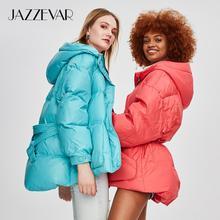 JAZZEVAR Зимняя пуховик новая модная уличная дизайнерская брендовая женская куртка-пуховик на утином пуху красивая верхняя одежда для девочек, пальто с поясом