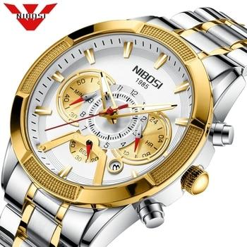 NIBOSI Men Watch Chronograph Sport Mens Watches Top Brand Luxury Waterproof Full Steel Quartz Gold Clock Relogio Masculino - discount item  80% OFF Men's Watches