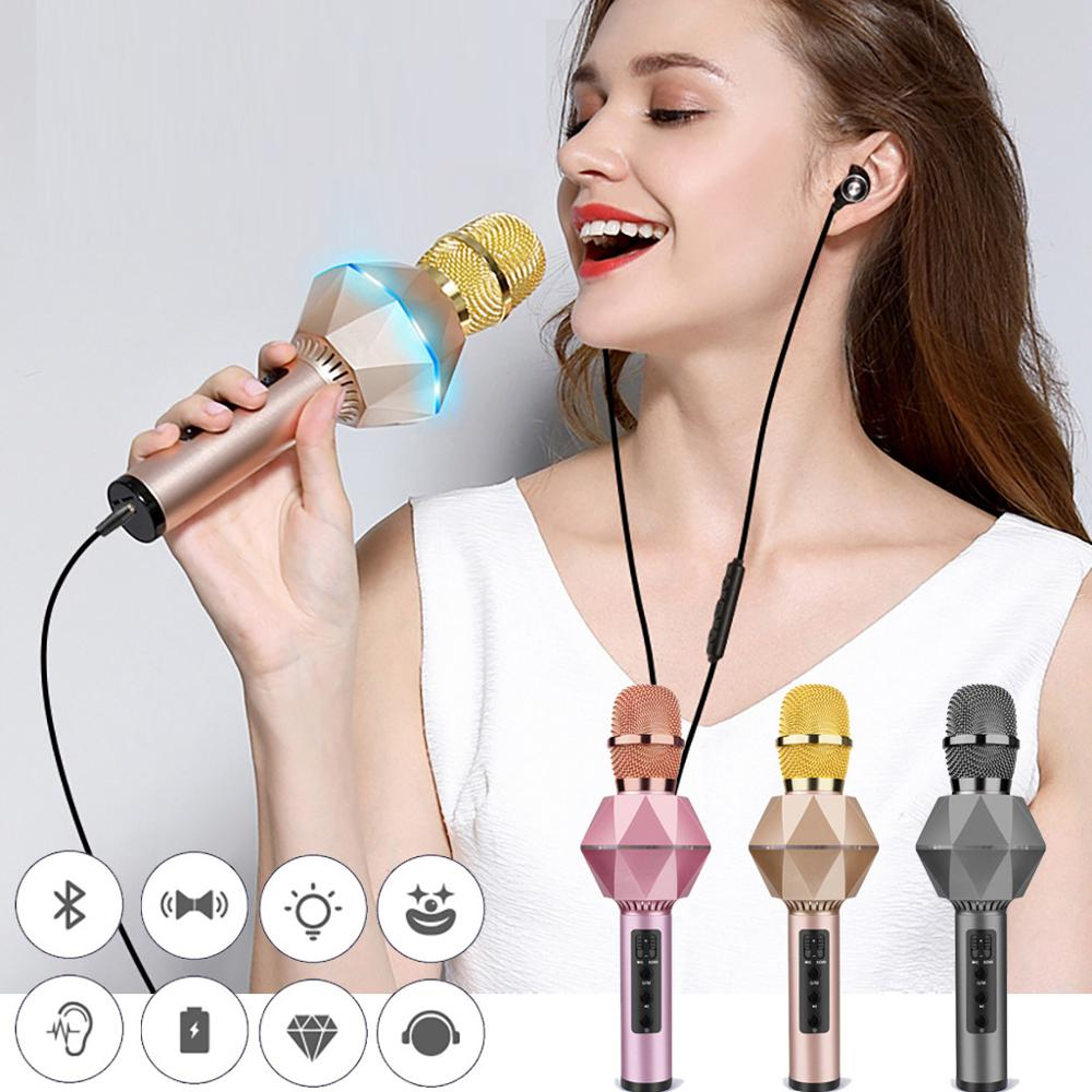 LED K7 Wireless Bluetooth Karaoke Microphone Aluminum Alloy Handle For Android/PC/All Smart Phone Christmas/Thanksgiving Gift