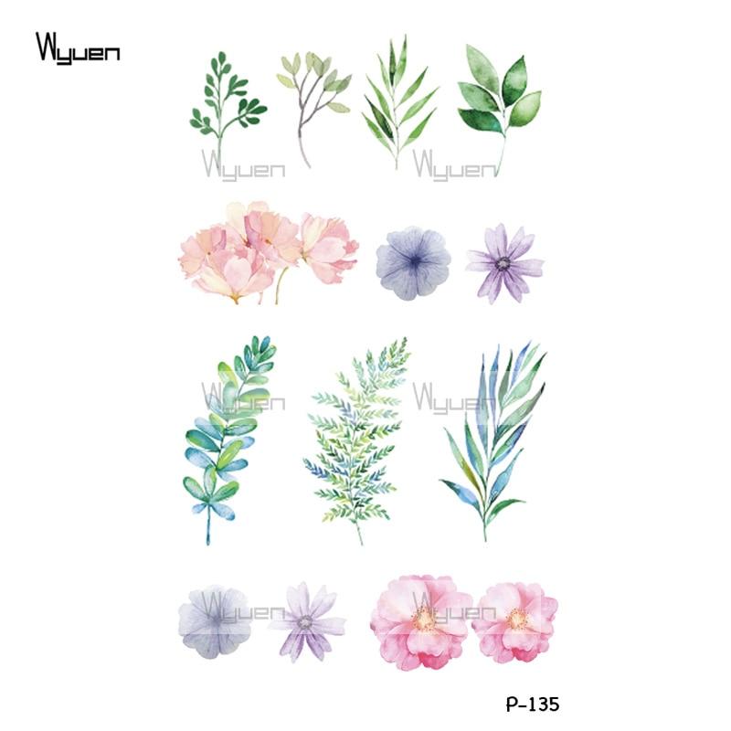 Wyuen New Design Pink Flowers Waterproof Temporary Tattoo Sticker for Women Body Art Fake Blossom Make Up Tatoo P-135