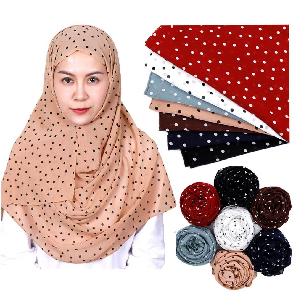 Autumn Women Dot Print Silk Scarf Muslim Chiffon Hijab Scarfs Islamic Headscarf Foulard Femme Ladies Pashmina Shawls And Wraps