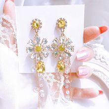 Корейские элегантные висячие серьги ювелирные украшения аксессуары
