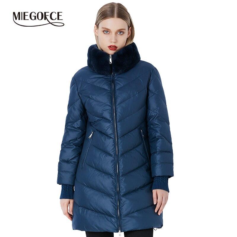 Miegofce 2019 inverno coleção parka feminino à prova de vento casaco grosso estilo europeu gola de pele de coelho jaqueta feminina quente