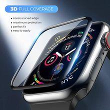 3d cobertura completa não vidro temperado para apple watch 6 se 5 4 40mm 44mm banda capa para apple iwatch série 3 2 1 38mm 42mm protetor