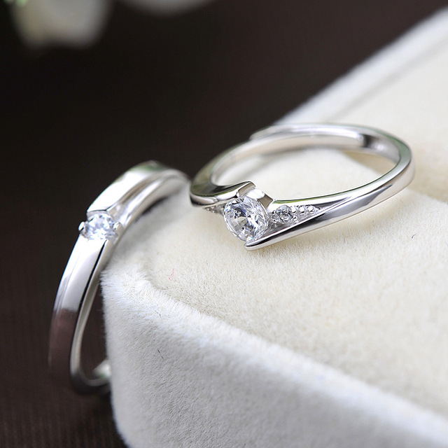UFOORO S925 Sterling Silver Clear Round Zirrcon Ring Valentine's Day Gift Couple Ring Set For Woman Wedding Engagement Jewelry 3