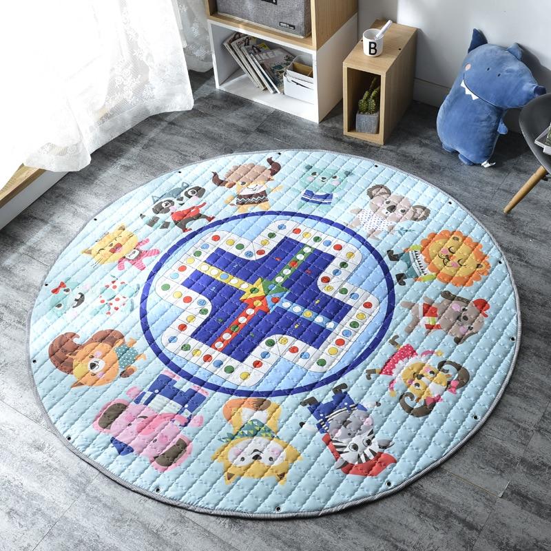 H0dae01b9760746f19f99e06a988be3d1s Kid Soft Carpet Rugs Cartoon Animals Fox Baby Play Mats Child Crawling Blanket Carpet Toys Storage Bag Kids Room Decoration