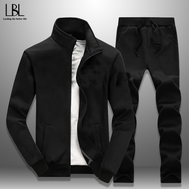 Casual 2 Piece Tracksuit 2019 Spring Autumn New Men's Sportswear Eur Size Jogger Pants + Sports Coat Men Set Fitness Clothing