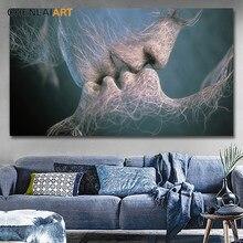 3 cores preto azul amarelo moderno abstrato amor beijo lona pintura cartaz e impressões fotos para o quarto arte da parede sem moldura