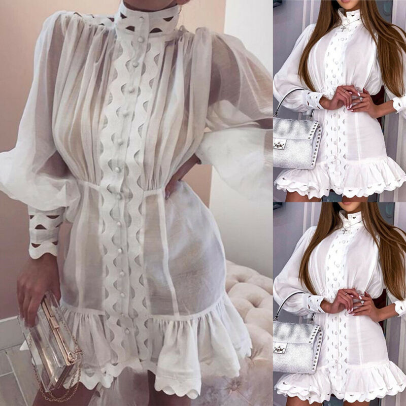 Women Casual Short Sleeve Solid Lace Hollow Out Top Shirt Blouse Mini Maxi Dress Bikini Cover Up Beachwear
