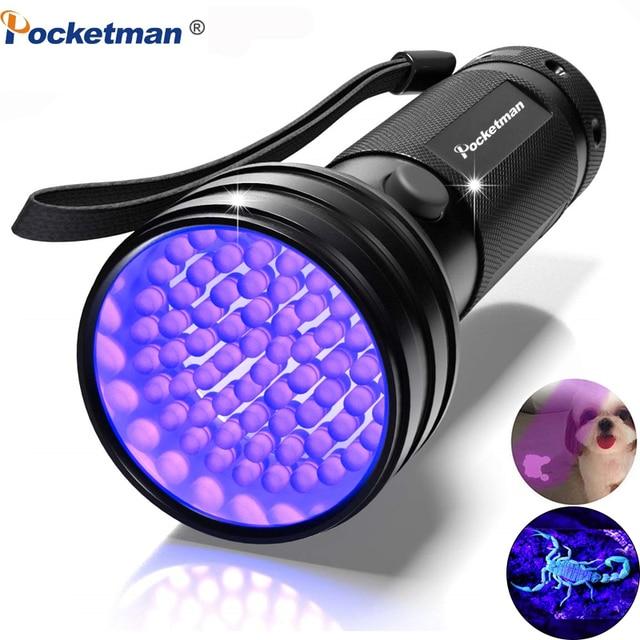 Lampe de poche UV lumière noire 9 12 21 51 LED 395 nm torche ultraviolette détecteur de lumière noire pour animaux de compagnie secs