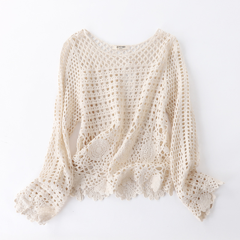 Knitted Hook Flower Hollow Women Tops Spring and Summer Hedging Pullover Round nNeck Trumpet Sleeve Blouse Sweet Top Shirt