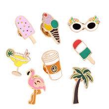 Mode Cartoon Coconut flamingo kegel eis Broschen Nette Mini Emaille Für Frauen Denim Jacken Revers Pins Hut Abzeichen Schmuck(China)