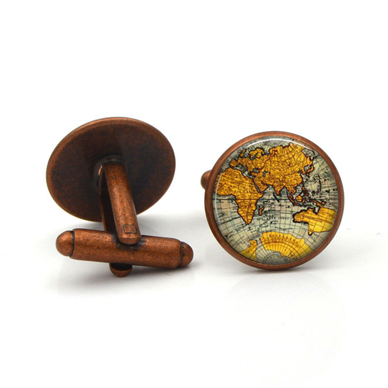 World Map Classic Cufflinks Men's Fashion Accessories Earth New York Pattern Round Convex Glass Cufflinks For Mens French Shirt