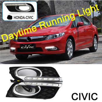 ECAHAYAKU DRL LED Daytime Running Light For Honda Civic 2011-2013 With Yellow Color Turning Signal Lamp 12V Day Light headlight