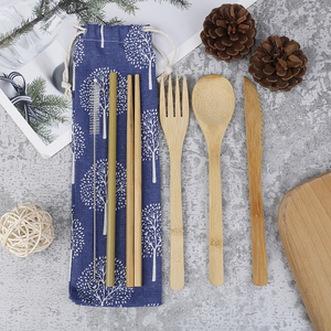 1Set Portable Bamboo Cutlery Set With Pouch Knife Outdoor Travel Camping Gift Include Pouch