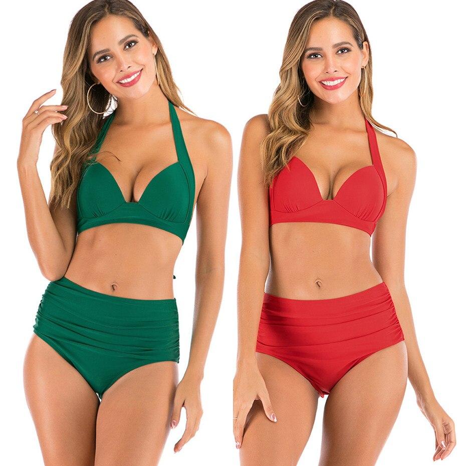 Sexy High Waist Bikini Push Up Swimwear Women 2020 Swimsuit Halter Top Bathing Suit Beachwear Biquini Plus Size Swimwear XXXL