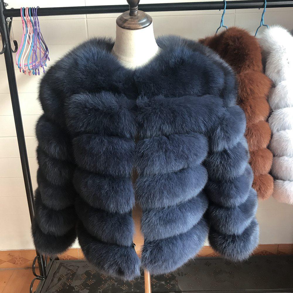 2019 55CM New Women Warm Real Fox Fur Coat Short Winter Fur Jacket Outerwear Natural Blue Fox Fur Coats For Women Hot Promotion
