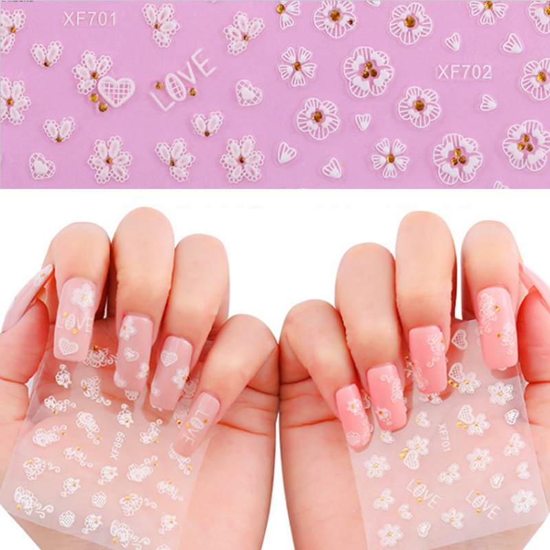 Manicure Stereo Varved Nail Sticker 3D Nail Sticker With Diamond Bride Manicure Nail Decals Manicure Supplies