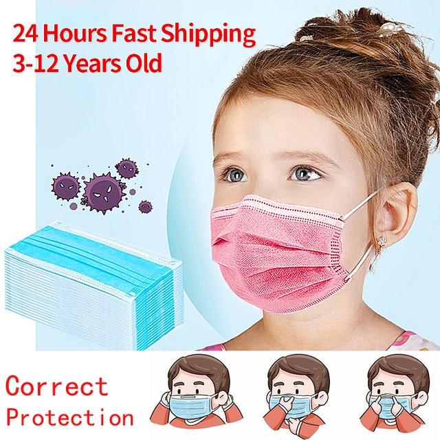 10/50 PCS Children Face Masks 3 Layer Elastic Melt-blown Anti-Flu Kids Disposable Mask Soft  Blue Pink Boys Girls