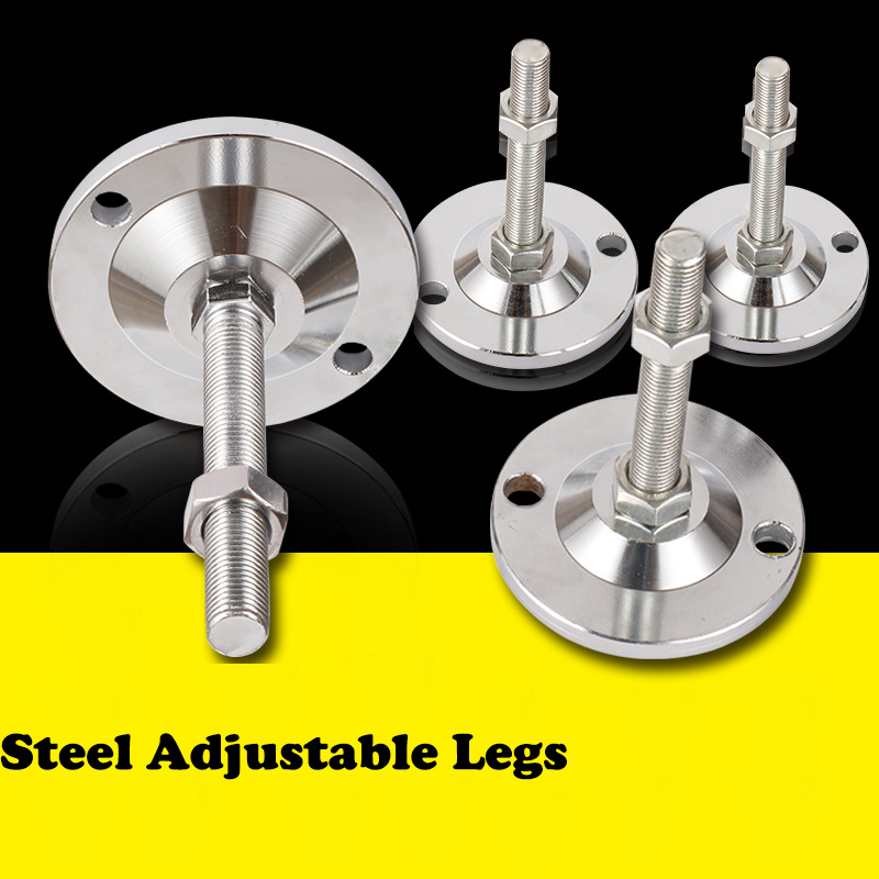 1/4 Pcs Threaded Adjustable Steel Furniture Leg Heavy Duty Furniture Leveler Leg For Cabinets Or Tables To Adjust Height