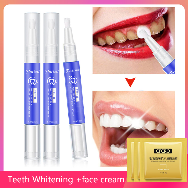 Whitening Tooth Pen Remove Plaque Stains Oral Hygiene Bleaching Teeth Whitener Gel Cleaning Serum + Collagen Anti Aging Cream