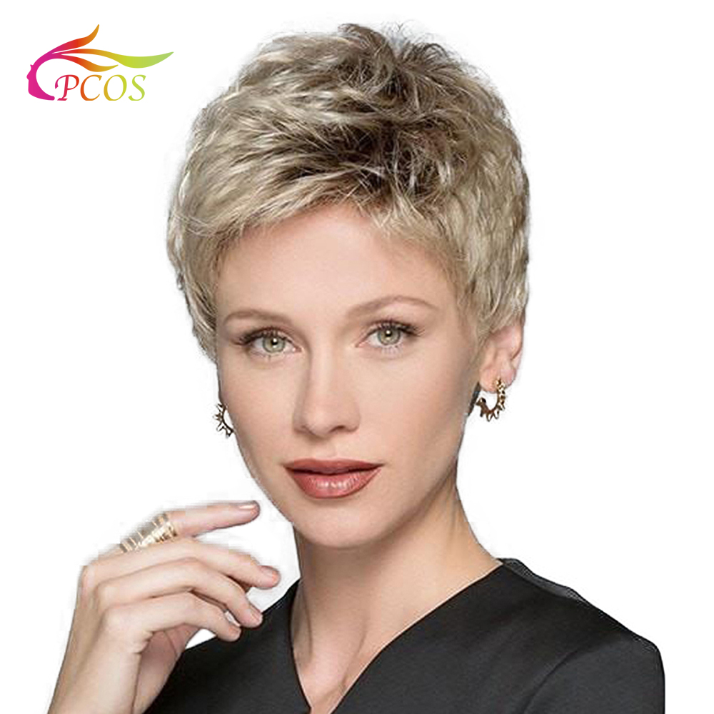 Perucas loiras sintéticas curtas para cabelos pretos, mulheres