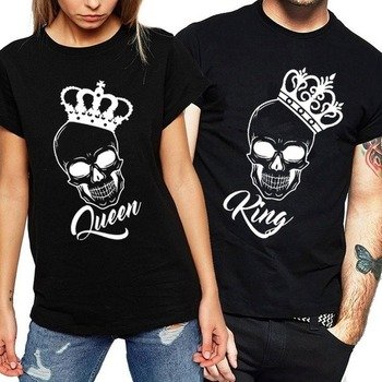 King Queen Couples T Shirt Skull Crown Printing Couple Clothes Summer T-shirt Women Man Casual O-neck Tops Lovers Tee Shirt 1