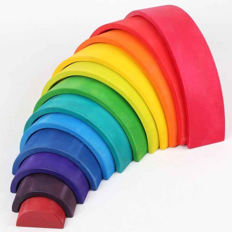 Giocattoli in legno per bambini fai-da-te blocchi creativi arcobaleno giocattoli per bambini giocattoli Montessori di grandi dimensioni giocattoli educativi per bambini